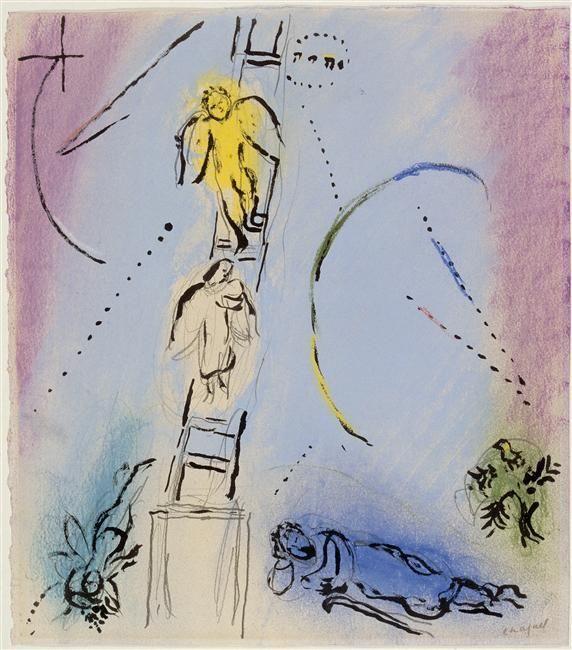 Acheter Tableau 'Le rêve de Jacob' de Marc Chagall - Achat d'une reproduction sur toile peinte à la main , Reproduction peinture, copie de tableau, reproduction d'oeuvres d'art sur toile