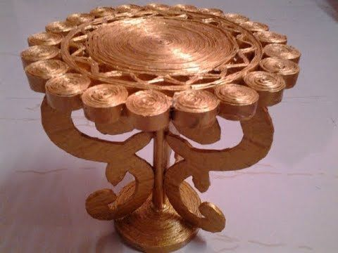 Best Out Of Waste Paper transformed to an elegant table for showpiece - YouTube