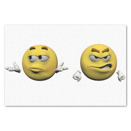 Yellow angry emoticon or smiley tissue paper - diy cyo customize create your own personalize