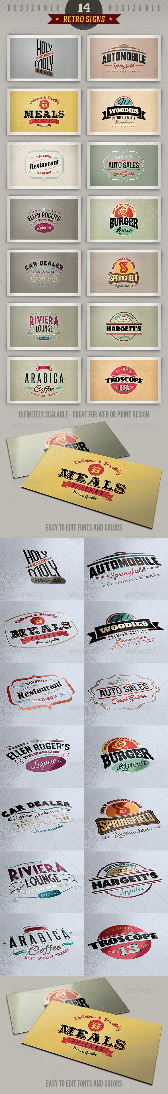 Best sellers premium fonts page 248 urban fonts - 14 Retro Signs Or Banners Vol 3