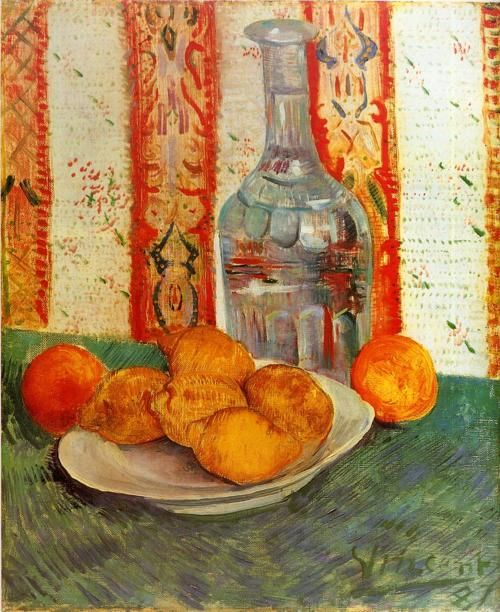Still Life with Decanter and Lemons on a Plate (1887) by Vincent Van GoghVincent Of Onofrio, Vangogh, Oil On Canvas, Vans Gogh Museums, Still Life, Vincent Vans Gogh, Art, Vincent Van Gogh, Lemon
