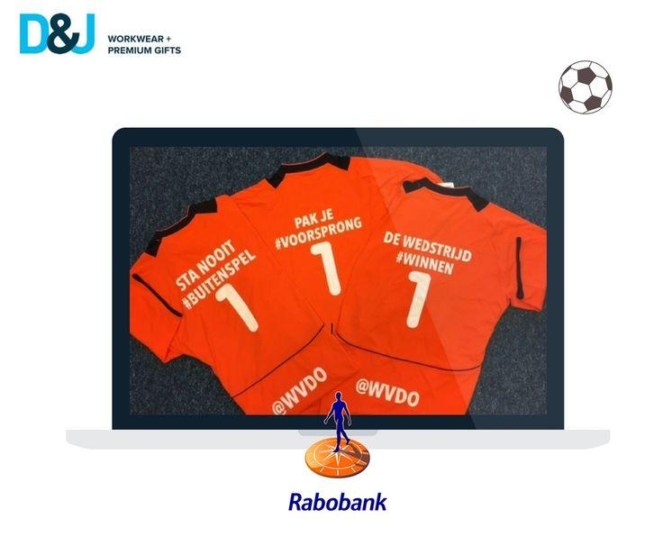 Bedrukte voetbal shirts voor een klanten avond van Rabobank Dommelstreek. #Promotiekleding #Sportkleding
