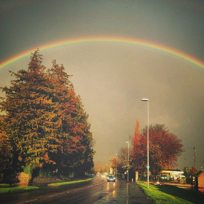 Today's #rainbow. .. #sunlight #autumn #rain (#Newtown #Powys) #Wales #road #trees #beautiful #colors #afternoon  - LinanDara's Art-n-Folk