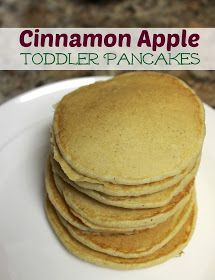 Simply Made...with Love: Cinnamon Apple Pancakes {Toddler} my one year old loved these pancakes. Trust me they are yummy and no toppings are needed.
