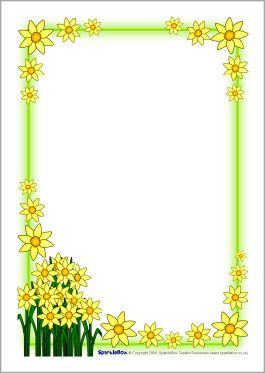 St David's Day daffodil A4 page borders (SB1248) - SparkleBox