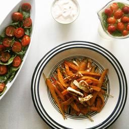 Carrot and sweetpotatoes with halloumi cheese