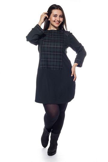 Derili Ekose Kumaş Elbise                            (150)