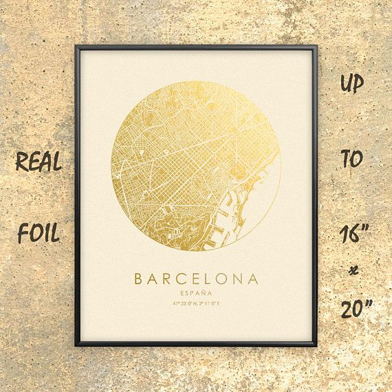 Barcelona City Map Gold Silver Print Real Foil Up To