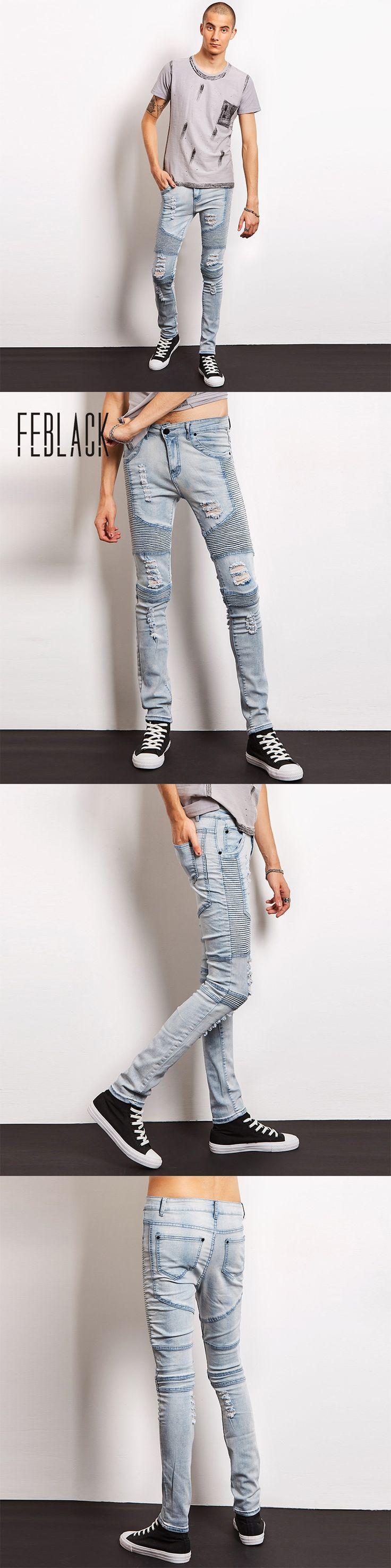 FEBLACK Men Jeans Brand Designer Slim Fit Ripped Jeans Men Hi-Street Mens Distressed Denim Joggers Knee Holes Destroyed Jeans