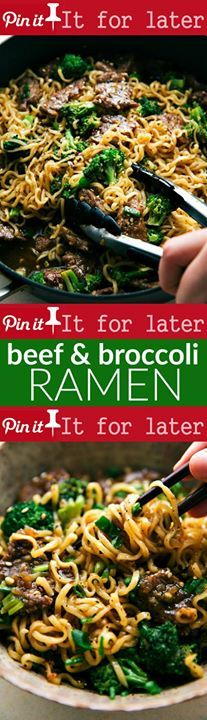 Skillet Beef and Broccoli Ramen 20 mins to make serves 4 The best way to enjoy beef and broccoli over ramen noodles with an ultra delicious sauce! Easy dinner recipe the whole family will love! Ingredients Meat lb Flank steak Produce 4 cups Broccoli florets 3 tsp Garlic tsp Ginger Canned Goods 1 cup Beef broth Condiments cup Honey cup Oyster sauce 5/8 cup Soy sauce low sodium Pasta & Grains 2 packages (3 ounces each) ramen noodles Baking & Spices 1/3 cup Brown sugar 3 tbsp Cornstarch 1 ...