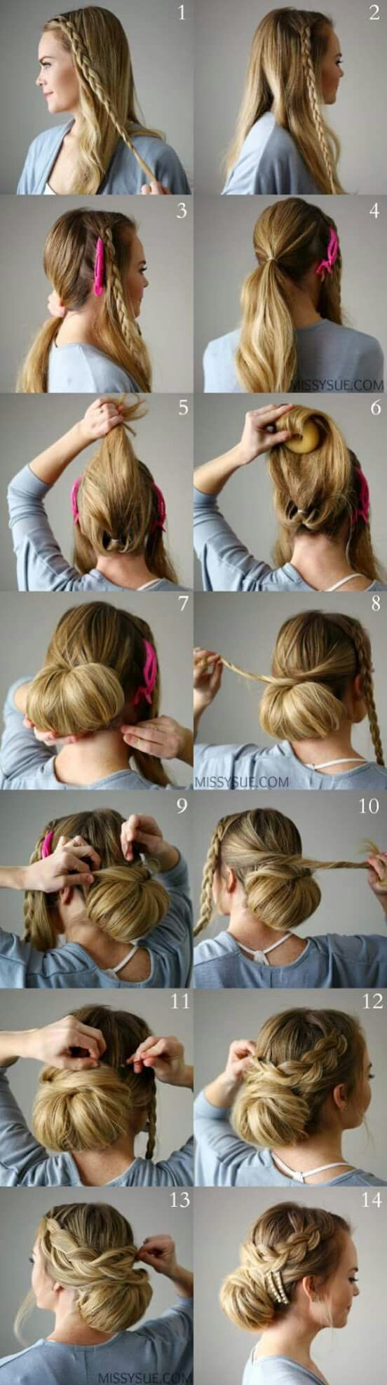 Awe inspiring pinterest the world39s catalog of ideas updo hairstyles - Braid Embellished Smooth Bun So Pretty Buns
