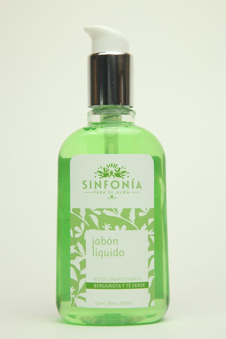 Jabón líquido para manos y cuerpo con fragancia bergamota y té verde, con extracto de bambú y algas marinas.