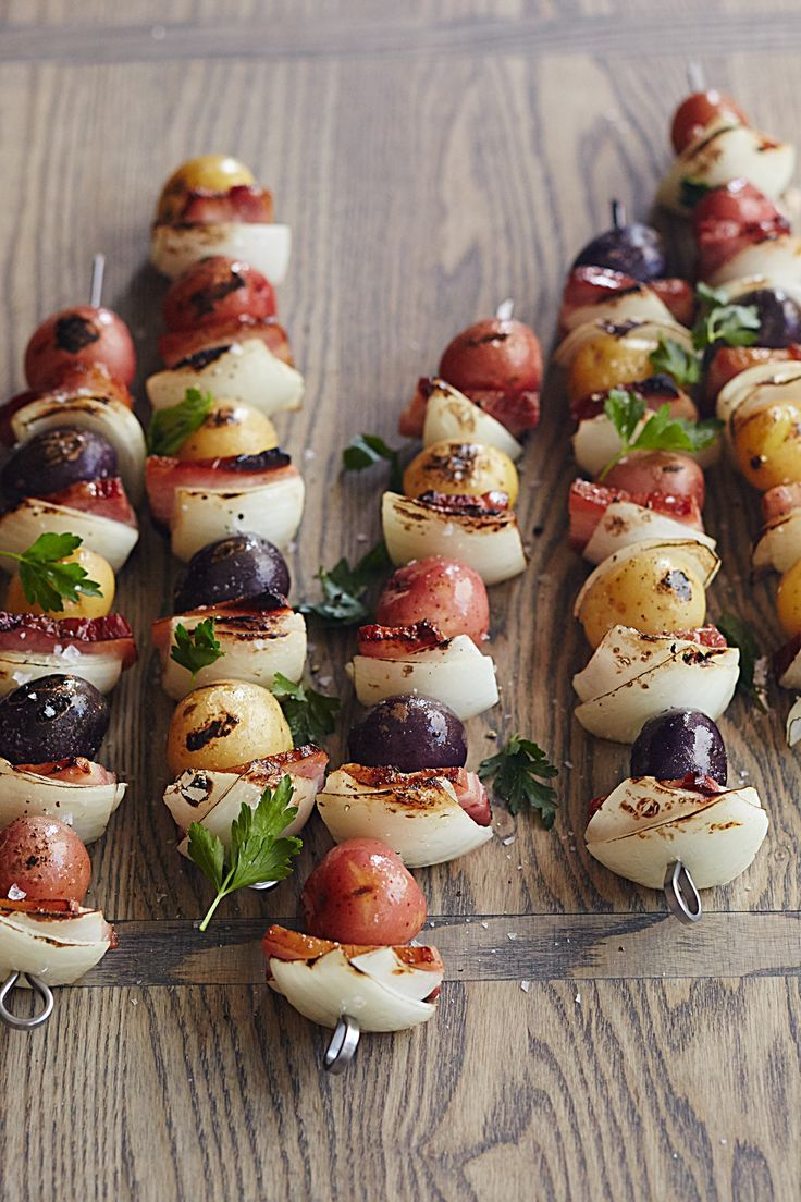 This Grilled Potato, Onion, and Bacon Skewer recipes tops our list of easy grilling ideas. Kebabs are a great food to bring camping for cooking over the campfire, and these couldn't be easier!