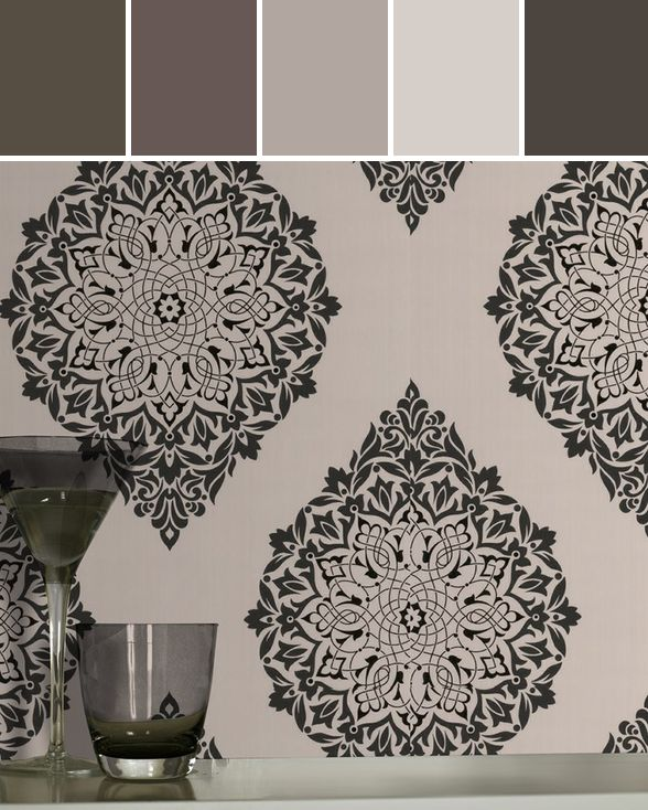 Tattoo wallpaper by Kelly Hoppen  Designed By Graham & Brown via Stylyze #colourpalettesilove