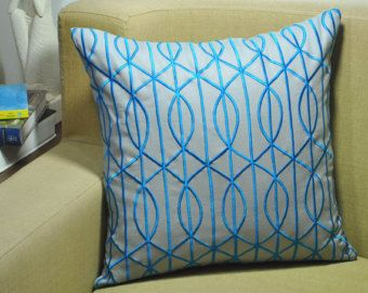 Trellis Pillow Cover, Decorative Throw Pillow, Throw Pillow Cover, Gray Linen Royal Blue, Embroidered,Couch Pillow, Contemporary Pillow Case