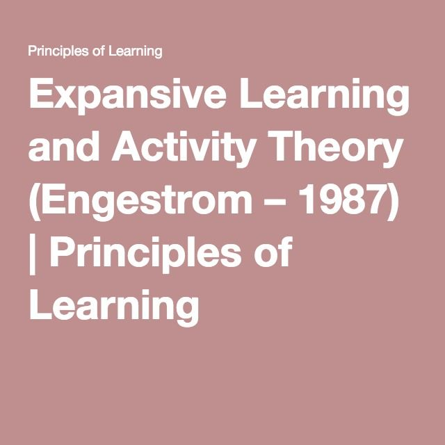 Expansive Learning and Activity Theory (Engestrom – 1987) | Principles of Learning
