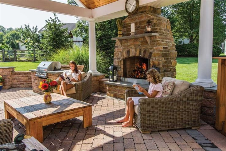 Outdoor fireplace with covered patio backyard oasis for Cost to build a lanai