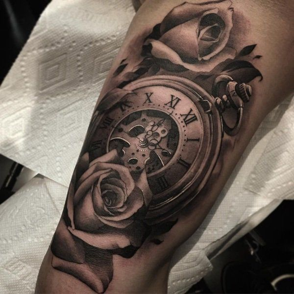 Watch with rose tattoo - 100 Awesome Watch Tattoo Designs  <3 <3
