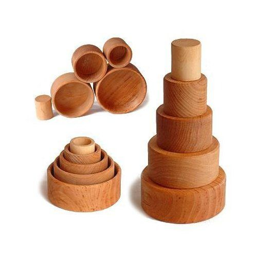 Amazon.com : Grimm's Set of 5 Small Wooden Stacking & Nesting Bowls, Natural : Sorting And Stacking Baby Toys : Baby