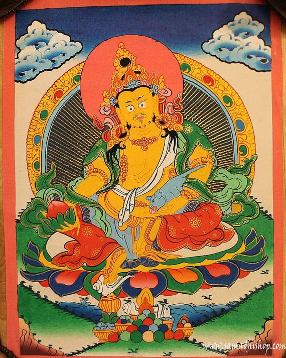 Yellow Dzambhala bodhisattva thangka painting by samadhishopcom
