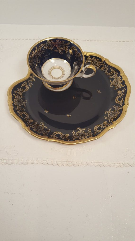 Rare vintage Weimar Kobalt teacup coffee cup and snack by SoItsOld