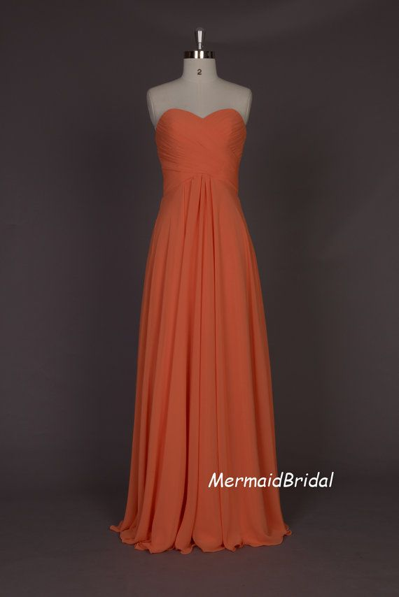 Salmon prom dress,  chiffon Long Prom dress, A line prom gown, Evening dresses, Party dresses, Bridesmaid dresses on Etsy, $129.99