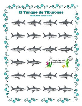 El Tanque de Tiburones: Spanish Noun - Adjectives Agreement Game