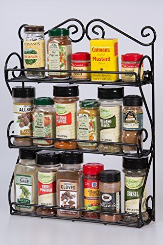 Unum Wall Mount Deluxe Spice Rack Organizer For Vitamins Nail Polish  Essential Oils Lotions Perfume Black Metal Scroll Rack Handcrafted Of  Sturdy Iron