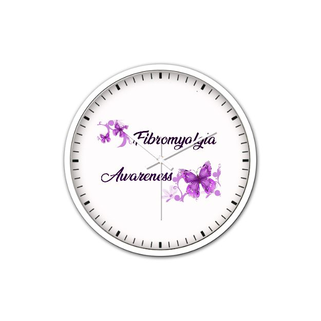 Non-Ticking Silent Wall Clock - Fibromyalgia Awareness (White) Order Here https://goo.gl/pLCPJ1  #afterpay #pendants #925sterling #fashionaccessories #christmasgift #followme #cubiczirconia #charms #fashionista #weddingjewellery