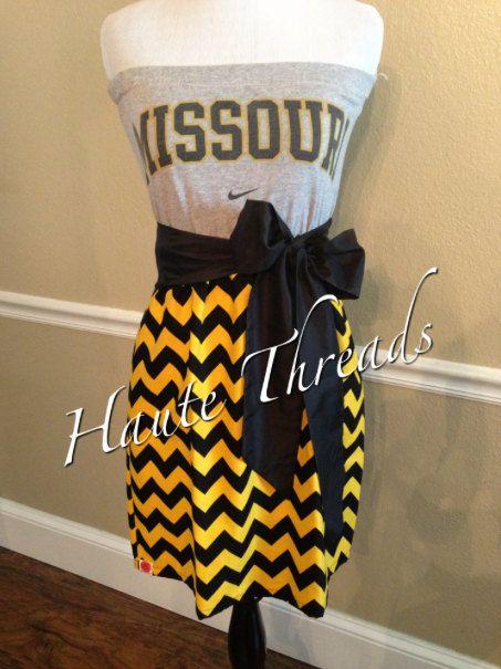 Missouri MIZZOU Tigers Black Gold Yellow CHEVRON Gameday Tube Strapless Football Dress with Black Sash Bow - Small