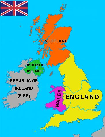 GREAT BRITAIN: England, Wales and Scotland. It is ONE island (the