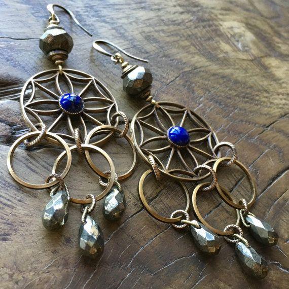 Lapis Lazuli & Pyrite earrings Bohemian by lecoupdegrace on Etsy