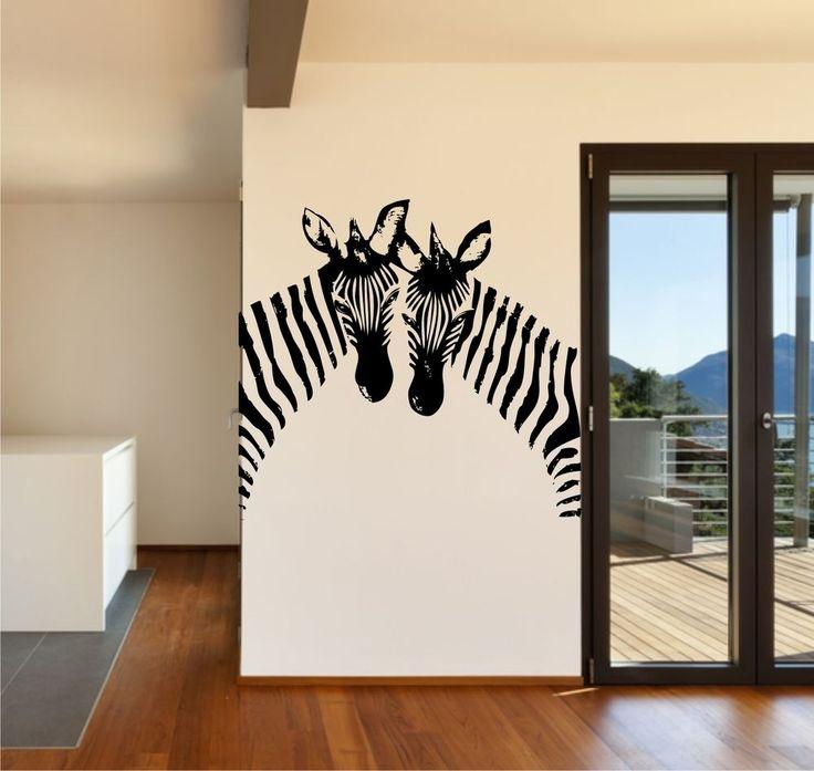Two Zebra Heads Vinyl Wall Art / Graphic - Stickers Decals Vinyl Transfers