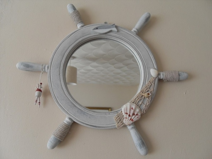 nautical mirror bathroom details about shabby ships wheel mirror with fish netting 13797
