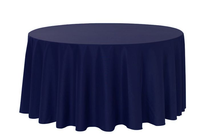 120 inch Round Polyester Tablecloths Navy Blue for Weddings | Wholesale Table Linens