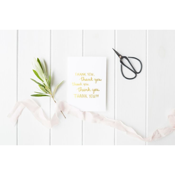 Gold or silver foil thank you greeting card | hardtofind.