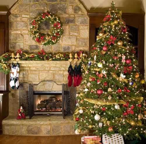 Decorating Beautiful Homes Interior Mini Decorated Christmas Trees Chimney Decorations 500x496 Living Room Ideas Small