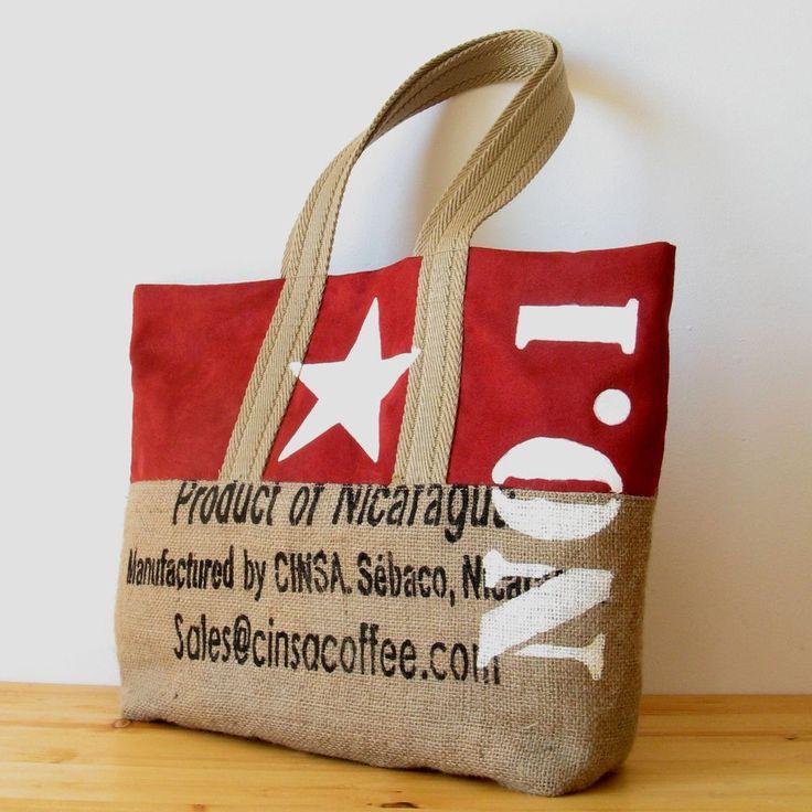 OJALÁ   Burlap & Suede Tote Bag.  Bolso grande de arpillera y antelina confeccionado artesanalmente. Large handmade burlap & suede tote bag.  #totebag #repurposed #coffeesack #jute #burlap