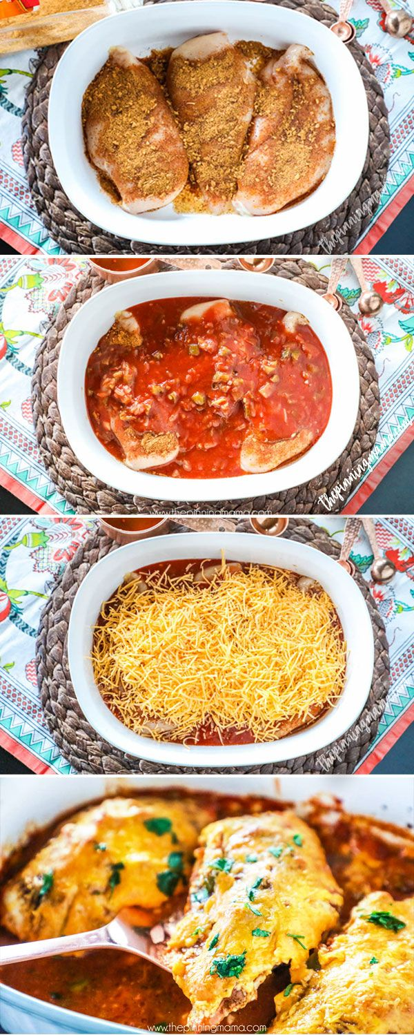 4 ingredients and one dish- This Salsa Chicken Bake Recipe is a winner for an easy weeknight meal!