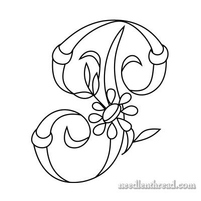 Free Monograms for Hand Embroidery: 'P' via Mary Corbet
