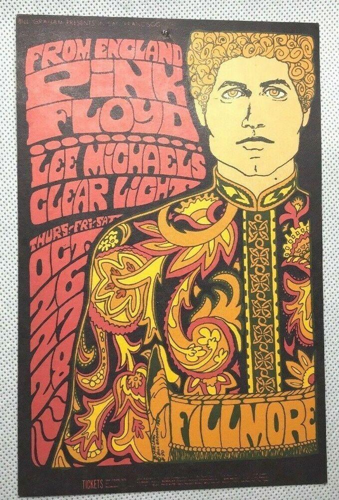 1550ee47 1967 PINK FLOYD Postcard LEE MICHAELS Clear Light FILLMORE Bill Graham 90 Ad