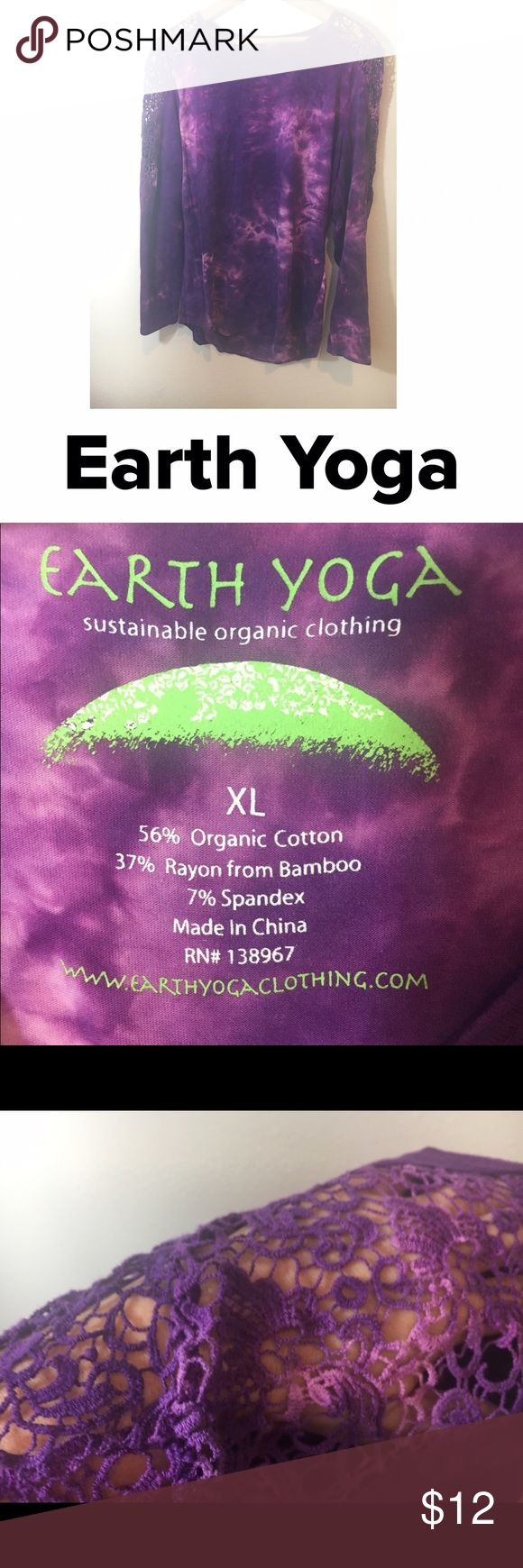 """Earth Yoga Purple Long Sleeve Top with Lace Detail Purple Tie dye long sleeved yoga top by Earth Yoga. Features crochet lace details on the shoulders. Women's XL, bust: 38"""", length 28"""". 56% organic cotton, 47% Rayon from bamboo, 7% spandex Earth Yoga Tops Tees - Long Sleeve"""