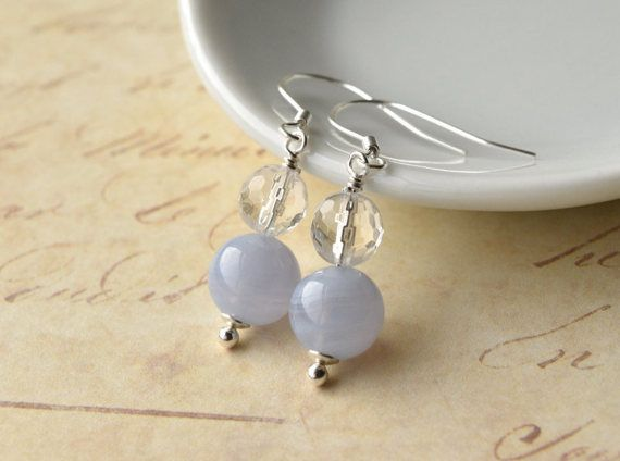 Wedding Earrings Blue Lace Agate Crystal by KittyBallistic on Etsy