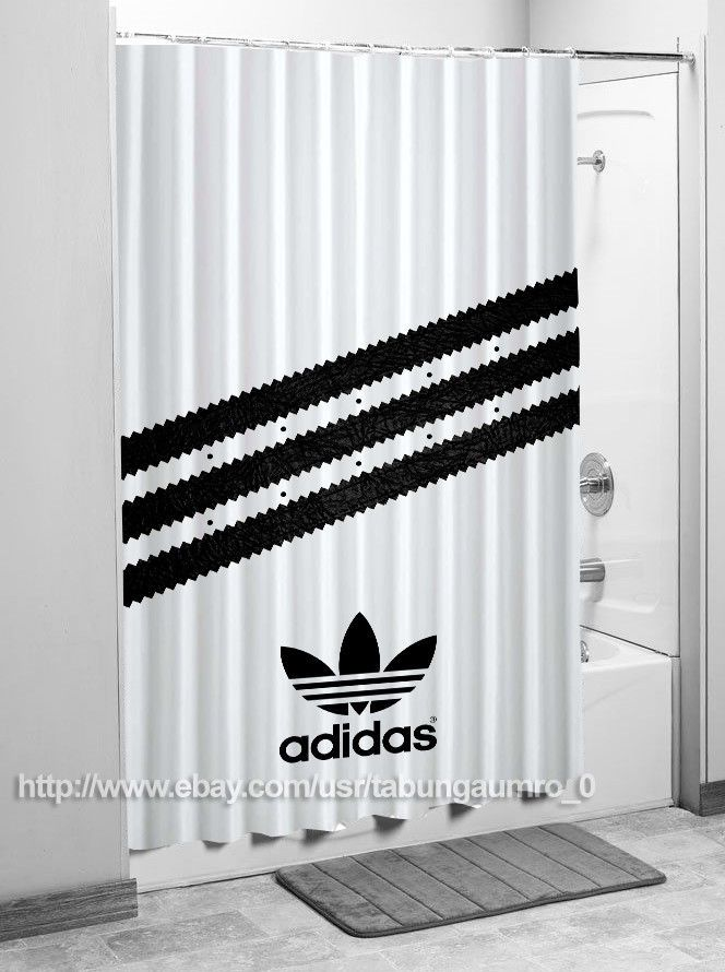 "New Adidas Stripes Black Logo Luxury Design High Quality Shower Curtain 60""x72"" | eBay"