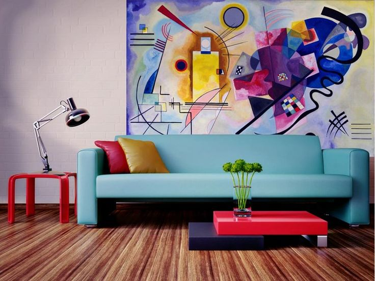 Carta da parati in tessuto non tessuto Giallo, rosso, blu - Kandinsky by MyCollection.it