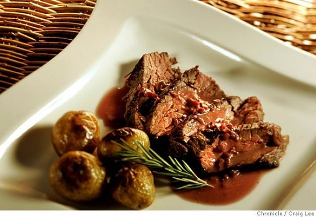 Bavette Steak with Beurre Rouge and Roasted Potatoes       Recipe at page 2