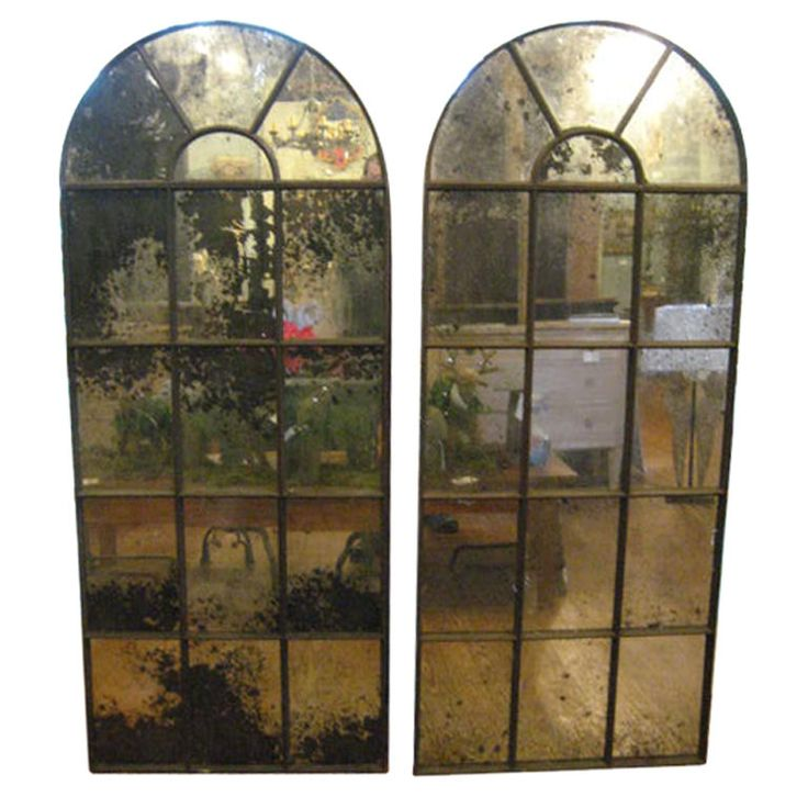 Pair French Industrial Mirrors