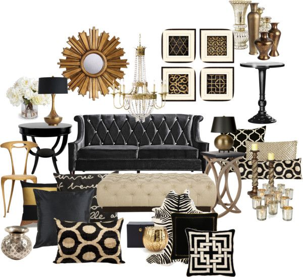 Black And Gold Living Room By Chloeg01 On Polyvore
