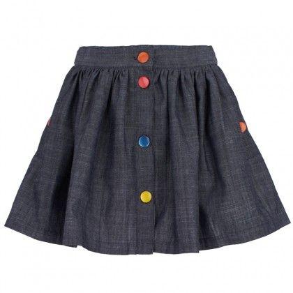 Multi-Colour Button Chambray Skirt