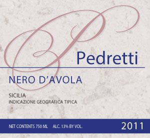Pedretti, Nero d'Avola, Sicilia IGT, Italy - 2011 Shining a brilliant, slightly translucent garnet, our Nero d'Avola represents the best of Sicily. This native grape delivers a slightly herbaceous nose of pepper, tree bark and berry fruit. Pinot Noir heft meets Syrah suppleness via tangy cranberry-blueberry-hybrid fruit.   Try this wine at a free wine tasting event! Ask me how to schedule your free event!  www.fortheloveofwinetasting.com